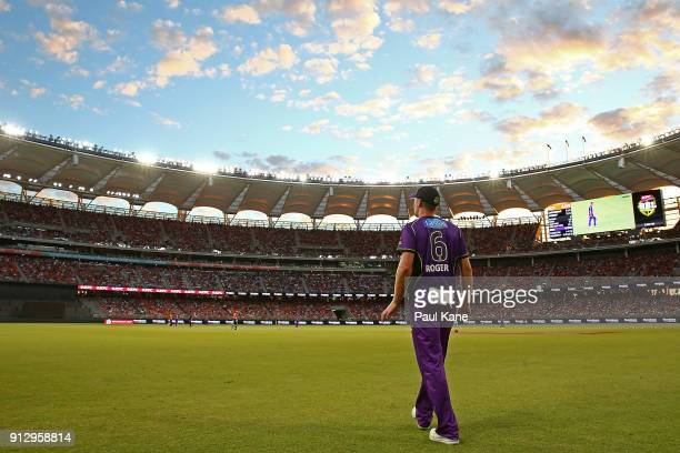 Tom Rogers of the Hurricanes fields in the outer during the Big Bash League Semi Final match between the Perth Scorchers and the Hobart Hurricanes at...