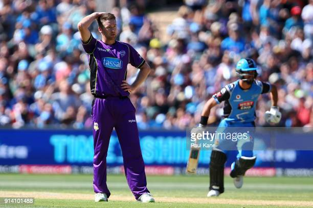 Tom Rogers of the Hurricanes looks on during the Big Bash League Final match between the Adelaide Strikers and the Hobart Hurricanes at Adelaide Oval...