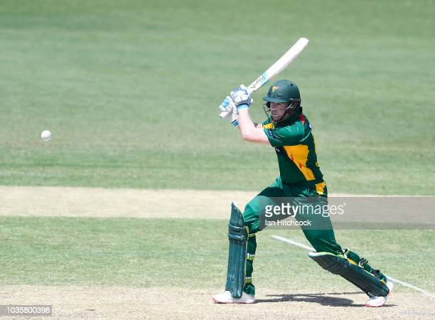 Tom Rogers of the Tigers bats during the JLT One Day Cup match between Tasmania and Victoria at Riverway Stadium on September 19 2018 in Townsville...