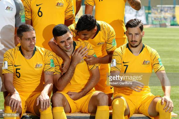 Tom Rogic and Daniel Arzani of Australia joke around during an Australia Socceroos media opportunity ahead of the FIFA World Cup 2018 at Stadium...