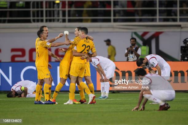 Tom Rogic of Australia celebrates after scoring a goal to make it 32 during the AFC Asian Cup Group B match between Australia and Syria at Khalifa...