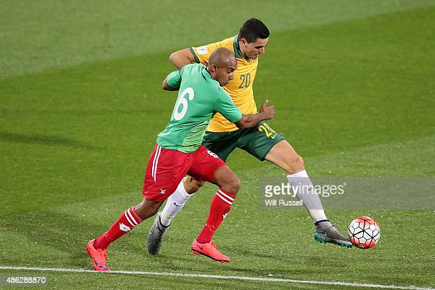 Tom Rogic of Australia controls the ball during the 2018 FIFA World Cup Qualification match between the Australian Socceroos and Bangladesh at nib...