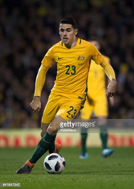 Tom Rogic of Australia in action during the International Friendly match between Australia and Colombia at Craven Cottage on March 27 2018 in London...