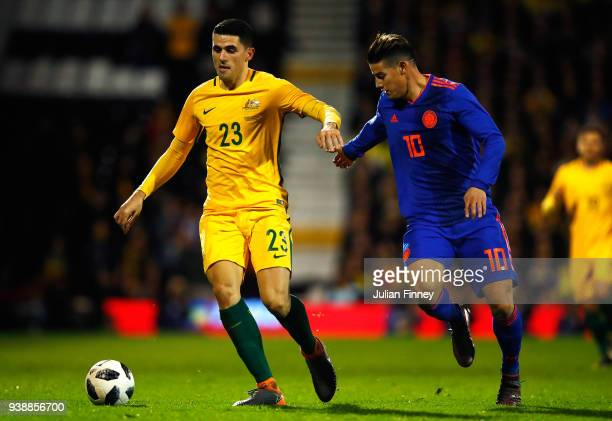 Tom Rogic of Australia is challenged by James Rodriguez of Columbia during the International friendly between Australia and Colombia at Craven...