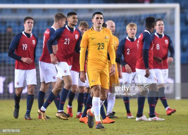 Tom Rogic of Australia looks on after the fourth goal goes in during the International Friendly match between Norway and Australia at Ullevaal...