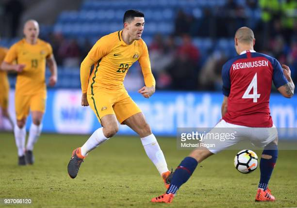 Tom Rogic of Australia makes a pass as Tore Reginiussen of Norway defends during the International Friendly match between Norway and Australia at...