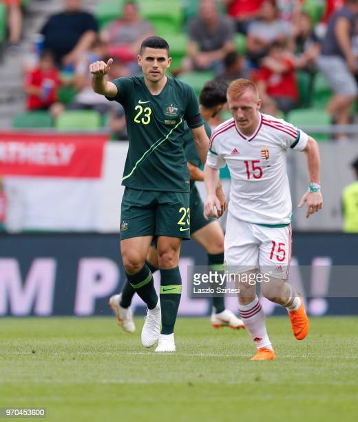Tom Rogic of Australia reacts next to Laszlo Kleinheisler of Hungary during the International Friendly match between Hungary and Australia at...