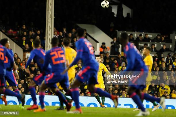 Tom Rogic of Australia shoot a free kick during the International friendly match between Colombia and Australia at Craven Cottage on March 27 2018 in...