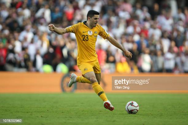 Tom Rogic of Australia takes a shot during the AFC Asian Cup Group B match between Australia and Jordan at Hazza Bin Zayed Stadium on January 6 2019...