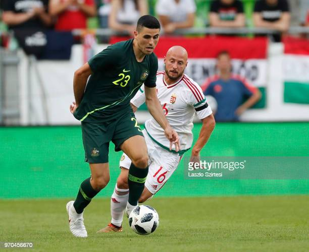 Tom Rogic of Australia wins the ball from Jozsef Varga of Hungary during the International Friendly match between Hungary and Australia at Groupama...