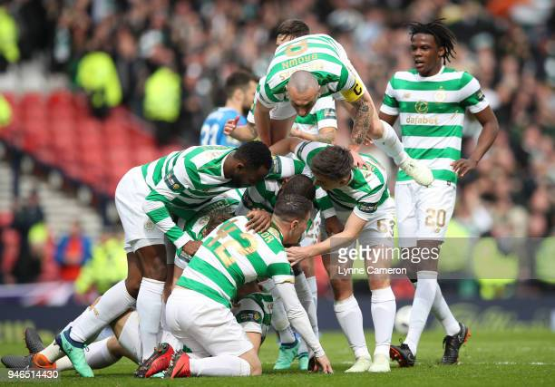 Tom Rogic of Celtic celebrates during the Scottish Cup Semi Final between Rangers and Celtic at Hampden Park on April 15 2018 in Glasgow Scotland