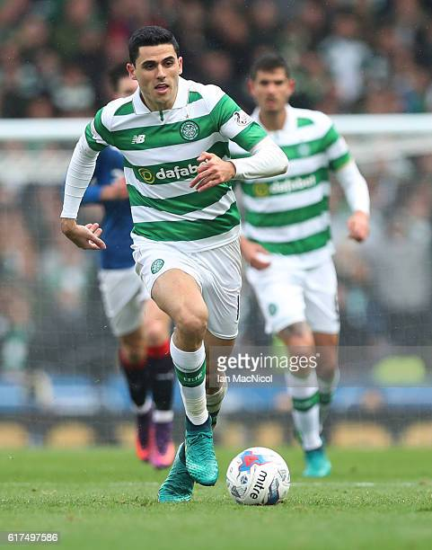Tom Rogic of Celtic controls the ball during the Betfred Cup Semi Final match between Rangers and Celtic at Hampden Park on October 23 2016 in...