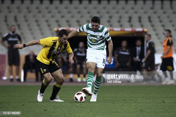 Tom Rogic of Celtic controls the ball during the UEFA Champions League Qualifying Third Round 2nd Leg match between AEK Athens and Celtic at OAKA...