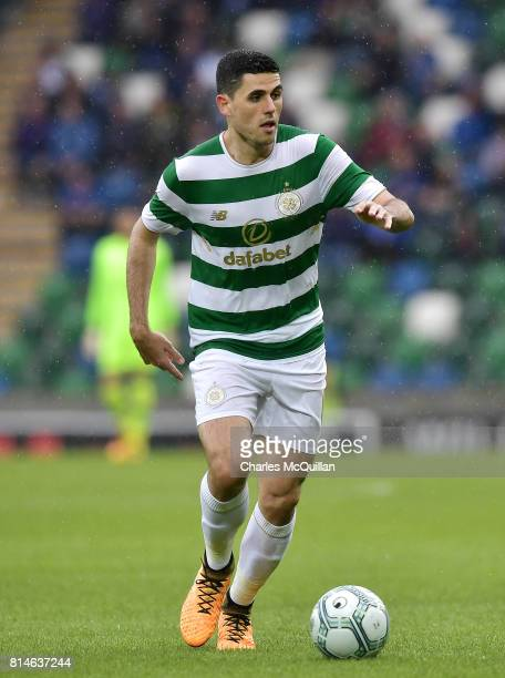 Tom Rogic of Celtic during the Champions League second round first leg qualifying game between Linfield and Celtic at Windsor Park on July 14 2017 in...