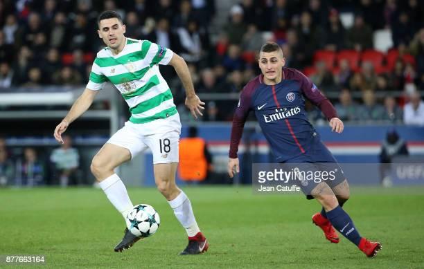 Tom Rogic of Celtic Glasgow Marco Verratti of PSG during the UEFA Champions League group B match between Paris SaintGermain and Celtic FC at Parc des...