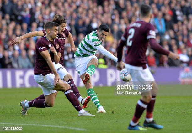 Tom Rogic of Celtic has a shot on goal during the Betfred Scottish League Cup Semi Final between Heart of Midlothian FC and Celtic FC on October 28...