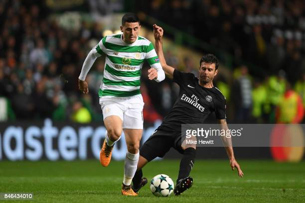 Tom Rogic of Celtic is challenged by Thiago Motta of Paris Saint Germain during the UEFA Champions League Group B match between Celtic and Paris...