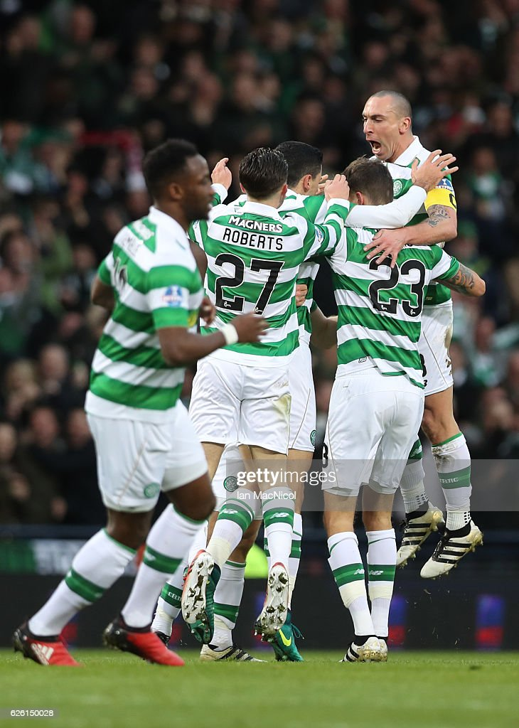 Tom Rogic of Celtic is congratulated by team mates after he scores true opening goal during the Betfred Cup Final between Aberdeen and Celtic at Hampden Park on November 27, 2016 in Glasgow, Scotland.