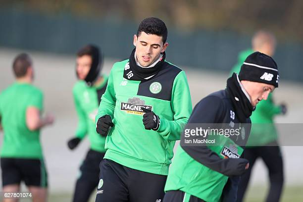 Tom Rogic of Celtic is seen during a Celtic FC training session ahead of their UEFA Champions League match against Manchester City at Lennoxtown...