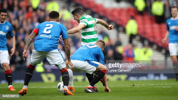 Tom Rogic of Celtic scores during the Scottish Cup Semi Final between Rangers and Celtic at Hampden Park on April 15 2018 in Glasgow Scotland