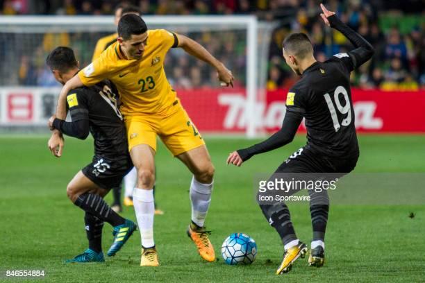 Tom Rogic of the Australian National Football Team Tristan Do of the Thailand National Football Team and Chanathip Songkrasin of the Thailand...