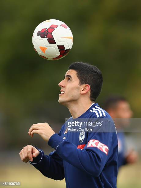 Tom Rogic of the Victory controls the ball during a Melbourne Victory ALeague training session at AAMI Park on January 21 2014 in Melbourne Australia...