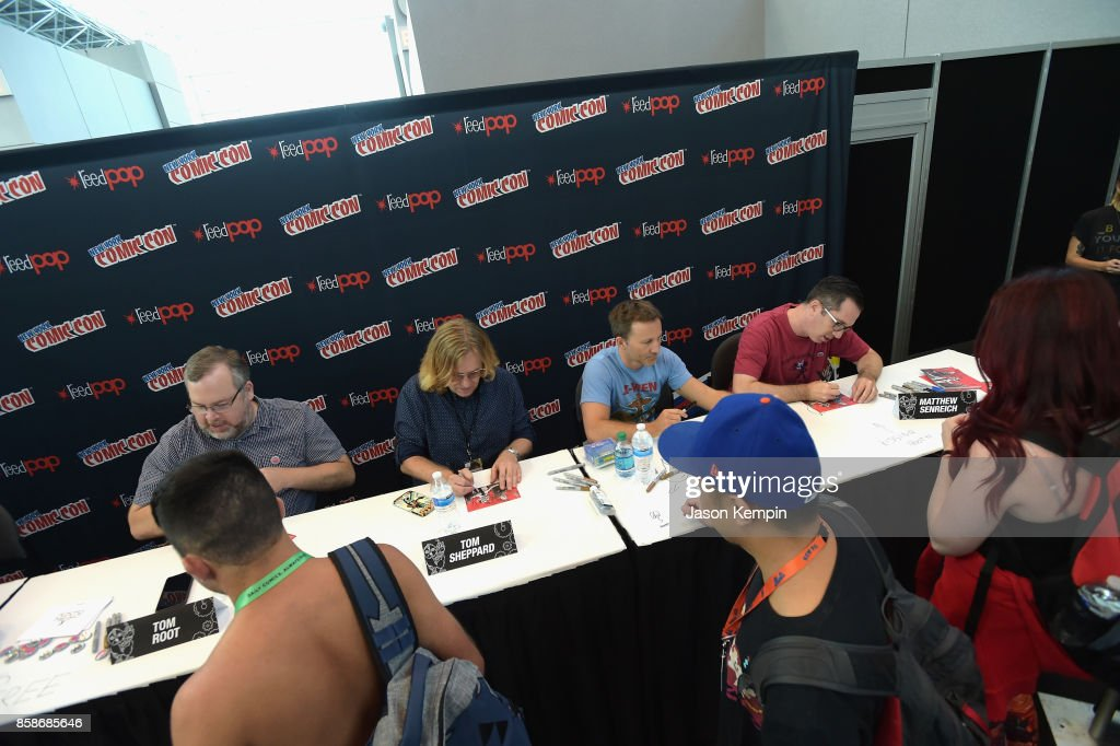 Tom Root, Tom Sheppard, Breckin Meyer, and Matt Senreich attend the Robot Chicken signing during New York Comic Con 2017 - JK at Jacob K. Javits Convention Center on October 7, 2017 in New York City. 27356_002