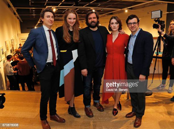 Tom Rosenthal Lily Cole Matt Berry Charlotte Ritchie and Simon Bird attend the press night after party for The Philanthropist at the Mall Galleries...