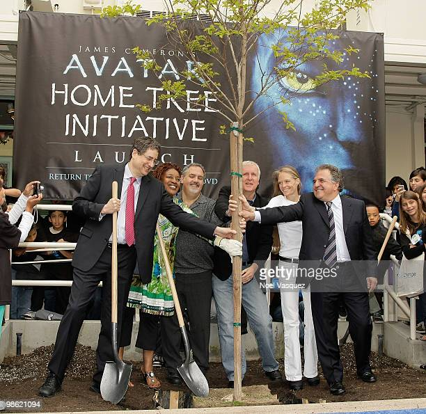 Tom Rothman CCH Pounder Jon Landau James Cameron Suzy Amis and Jim Gianopulosattends the Bluray and DVD release of 'Avatar' Earth Day tree planting...