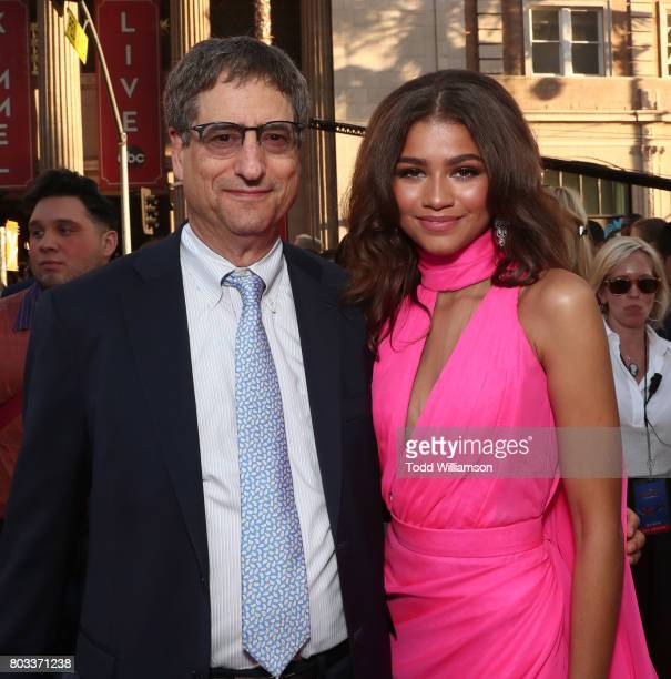 Tom Rothman Chairman Sony Pictures Motion Picture Group and Zendaya attend the premiere of Columbia Pictures' 'SpiderMan Homecoming' at TCL Chinese...