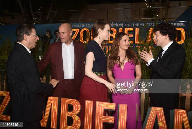 Tom Rothman Woody Harrelson Emma Stone Abigail Breslin and Jesse Eisenberg attend the premiere of Sony Pictures' Zombieland Double Tap at The Regency...