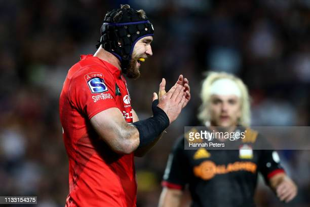 Tom Rowe of the Sunwolves celebrates during the round three Super Rugby match between the Chiefs and the Sunwolves at FMG Stadium Waikato on March 02...