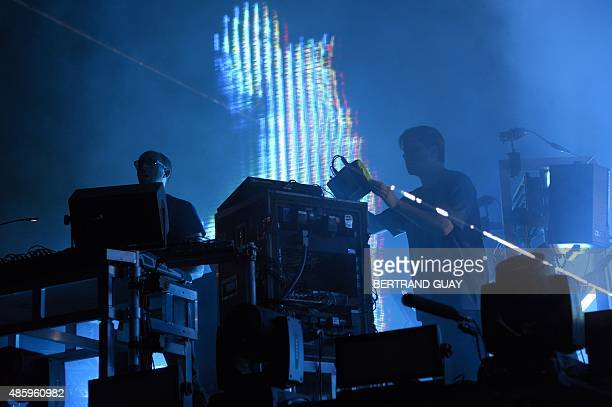 Tom Rowlands and Ed Simons, of the British electronic music duo The Chemical Brothers perform during the Rock-en-Seine music festival in Saint-Cloud...