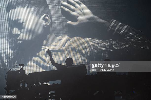 Tom Rowlands and Ed Simons of the British electronic music duo The Chemical Brothers perform during the Rock-en-Seine music festival in Saint-Cloud...