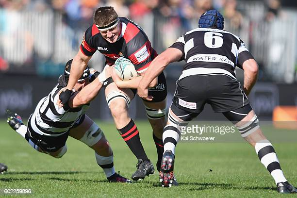 Tom Sanders of Canterbury charges forward during the round four Mitre 10 Cup match between Canterbury and Hawke's Bay at AMI Stadium on September 11...