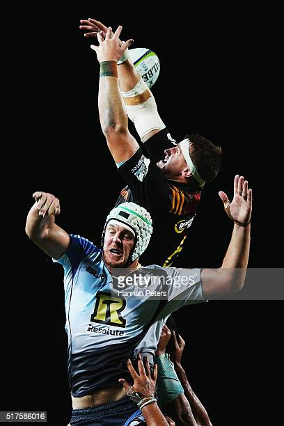 Tom Sanders of the Chiefs competes in the lineout with Ross HaylettPetty of the Force during the round five Super Rugby match between the Chiefs and...