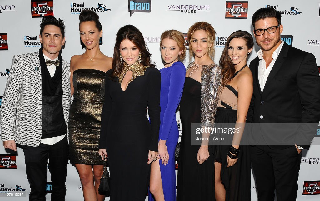 Tom Sandoval, Kristen Doute, Lisa Vanderpump, Stassi Schroeder, Katie Maloney, Scheana Marie and Jax Taylor attend the 'The Real Housewives of Beverly Hills' and 'Vanderpump Rules' premiere party at Boulevard3 on October 23, 2013 in Hollywood, California.