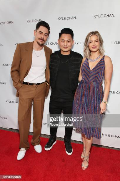 Tom Sandoval, Kyle Chan and Ariana Madix attend Kyle Chan's retail store opening at Kyle Chan Design on June 16, 2021 in Los Angeles, California.