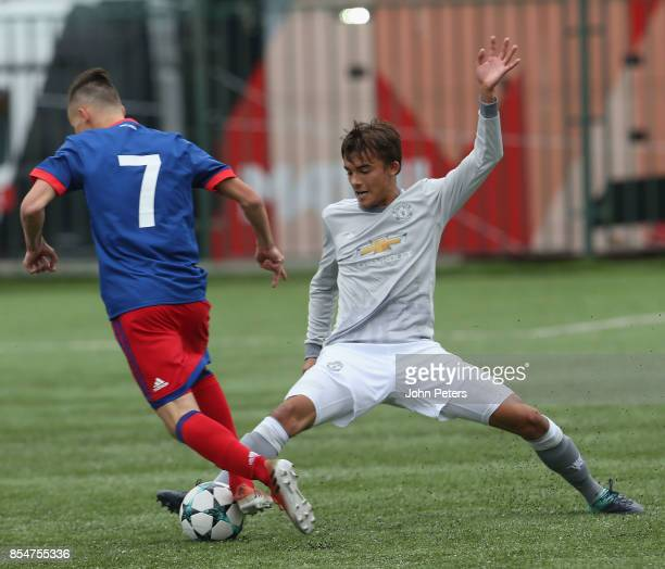 Tom Sang of Manchester United U19s in action during the UEFA Youth League match between CSKA Moskva U19s and Manchester United U19s at Oktyabr...