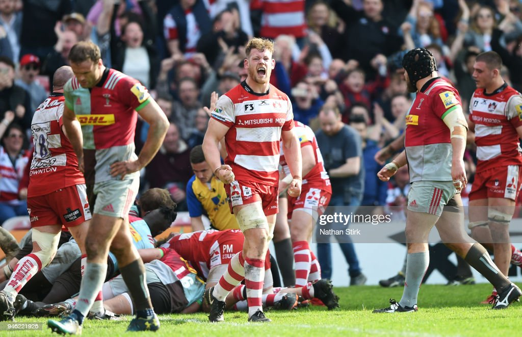 Tom Savage of Gloucester celebrates during the Aviva Premiership match between Gloucester Rugby and Harlequins at Kingsholm Stadium on April 14, 2018 in Gloucester, England.