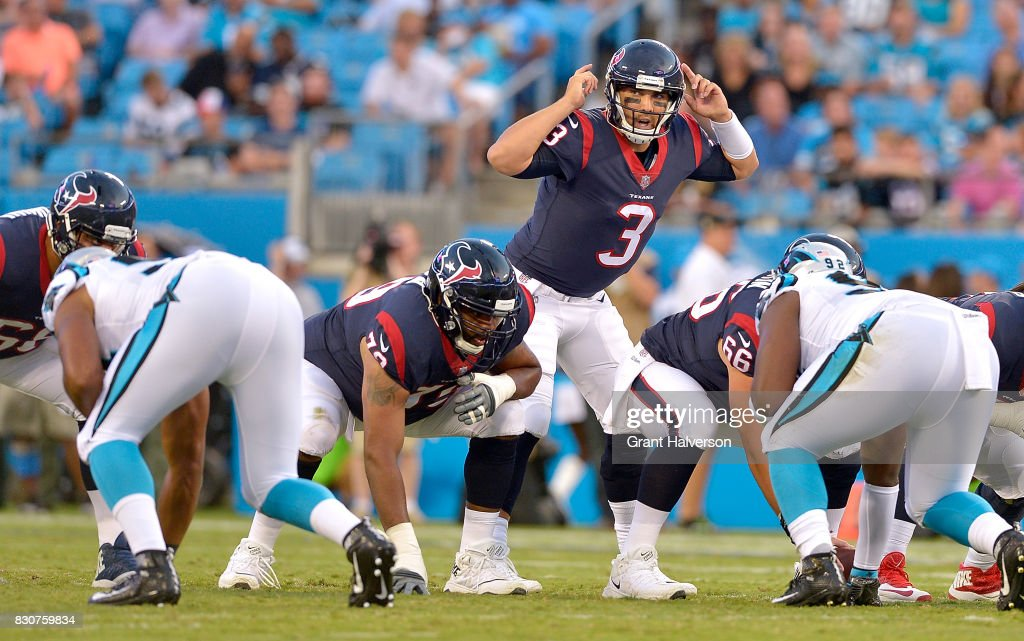 Tom Savage #3 of the Houston Texans against the Carolina Panthers during their game at Bank of America Stadium on August 9, 2017 in Charlotte, North Carolina.