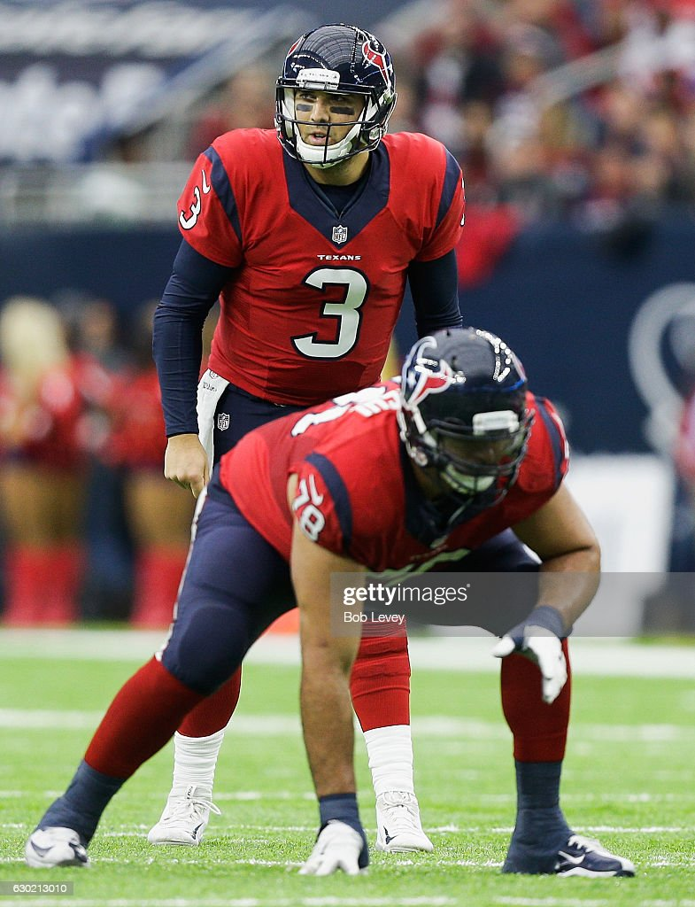 Tom Savage #3 of the Houston Texans calls out a play at the line against the Jacksonville Jaguars at NRG Stadium on December 18, 2016 in Houston, Texas.