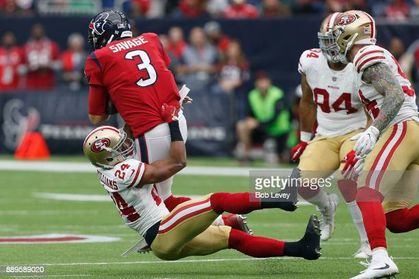 Tom Savage of the Houston Texans is sacked by K'Waun Williams of the San Francisco 49ers in the first quarter at NRG Stadium on December 10 2017 in...