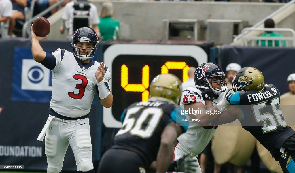 Tom Savage #3 of the Houston Texans looks for a receiver in the second quarter against the Jacksonville Jaguars at NRG Stadium on September 10, 2017 in Houston, Texas.