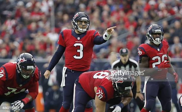 Tom Savage of the Houston Texans signals at the line of scrimmage in the fourth quarter at NRG Stadium on December 18 2016 in Houston Texas
