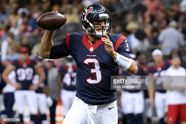 Tom Savage of the Houston Texans throws a pass against the New Orleans Saintsat the MercedesBenz Superdome on August 30 2015 in New Orleans Louisiana
