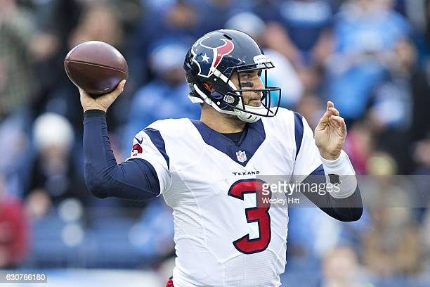 Tom Savage of the Houston Texans throws a pass during a game against the Tennessee Titans at Nissan Stadium on January 1 2017 in Cleveland Ohio