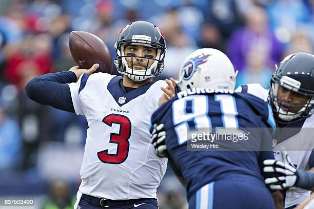 Tom Savage of the Houston Texans throws a pass during a game against the Tennessee Titans at Nissan Stadium on January 1 2017 in Nashville Tennessee...