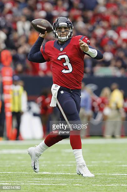 Tom Savage of the Houston Texans throws a pass in the second quarter against the Jacksonville Jaguars at NRG Stadium on December 18 2016 in Houston...