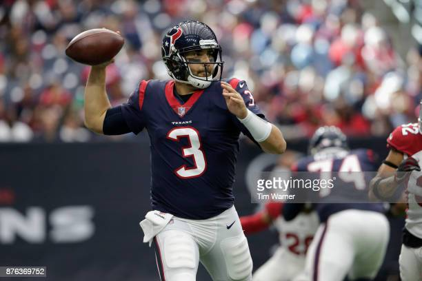 Tom Savage of the Houston Texans throws a pass in the third quarter against the Arizona Cardinals at NRG Stadium on November 19 2017 in Houston Texas